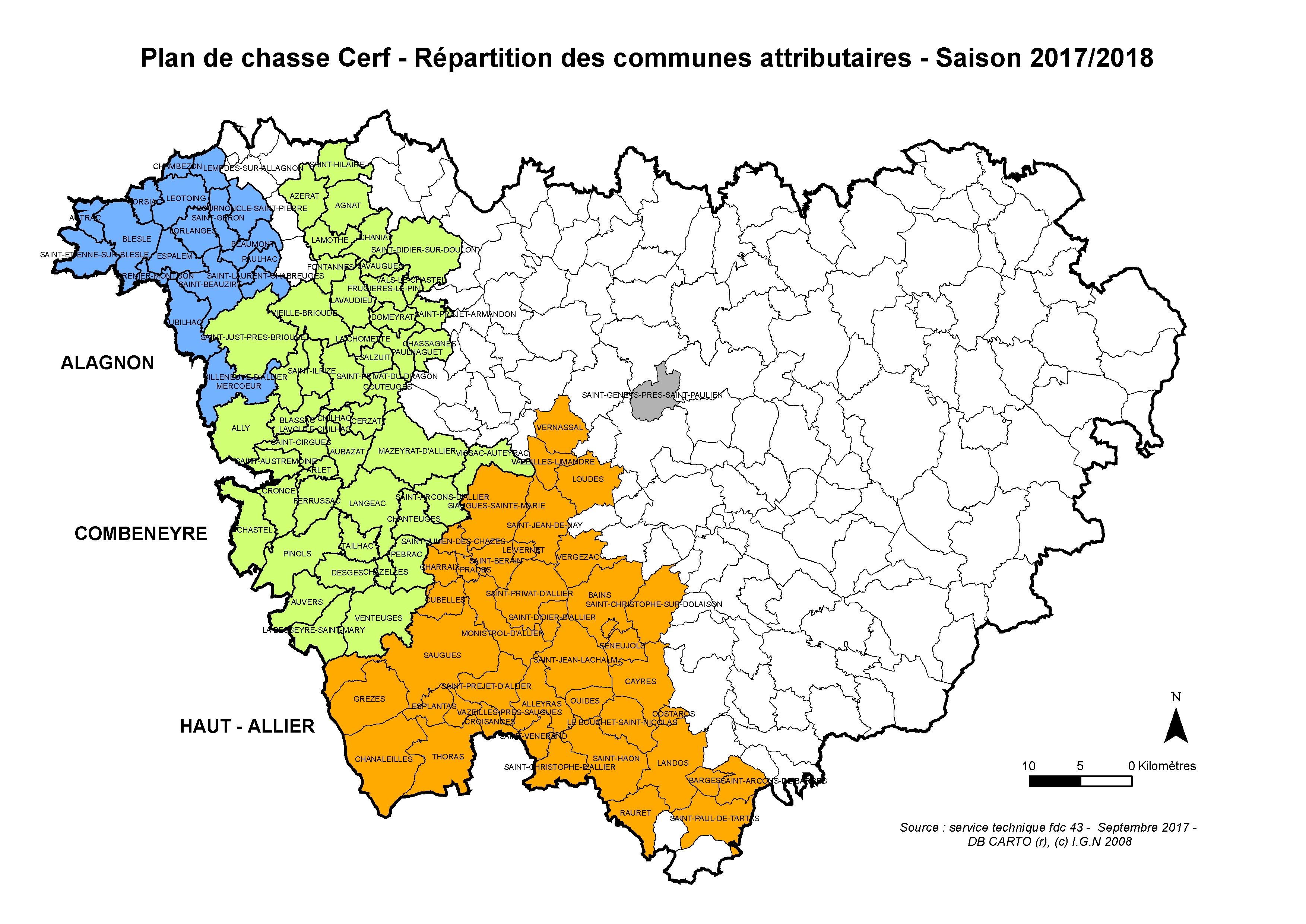 Unité de gestion Cerf - Commune avec plan de chasse cerf 2017 2018